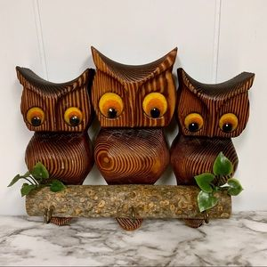 Green Mountain Vintage Owl Wall Hanging Key Hook